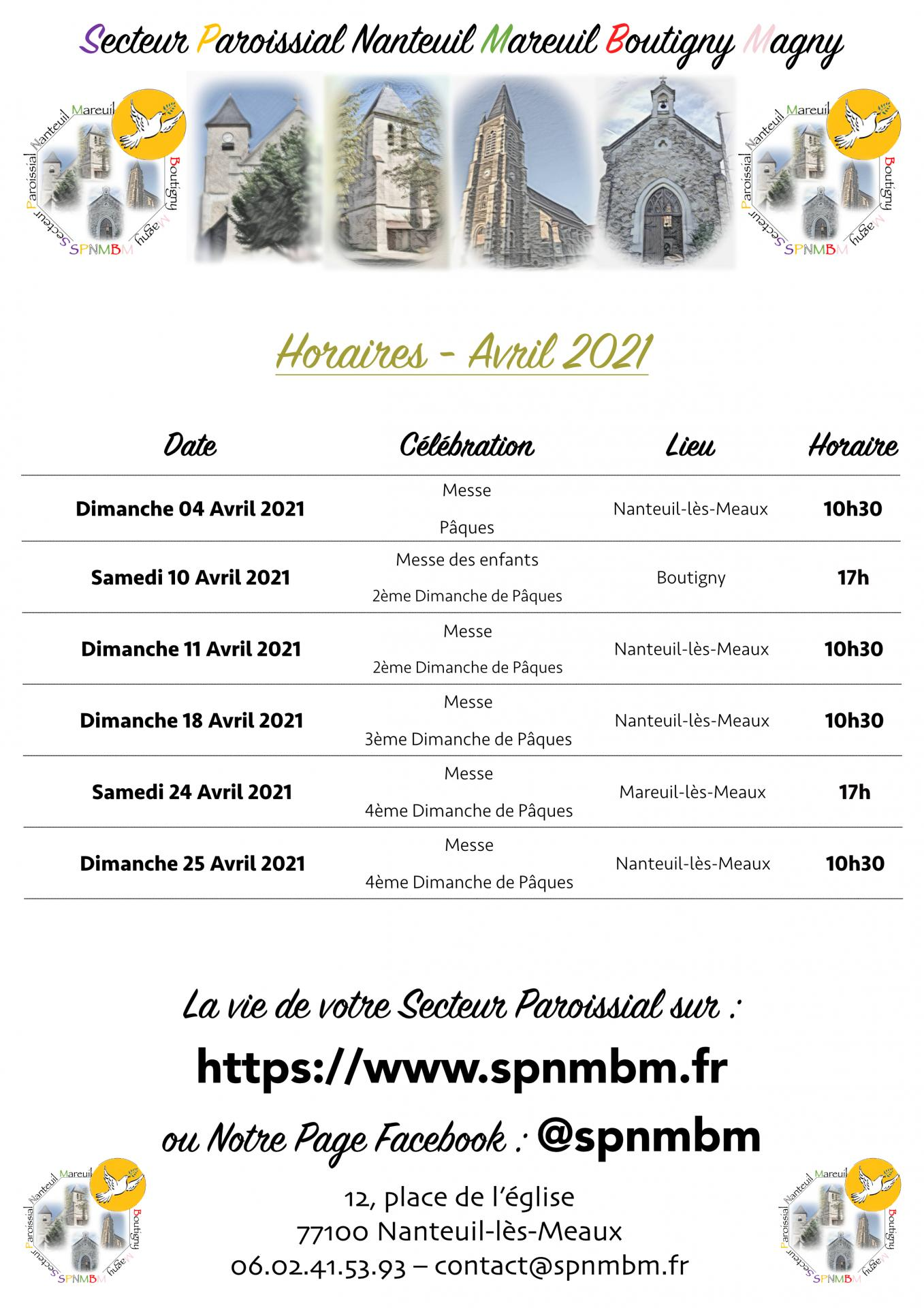 Horaires avril 2021